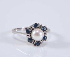 585 gold  14kt Weißgold Ring mit Perle Saphire blau
