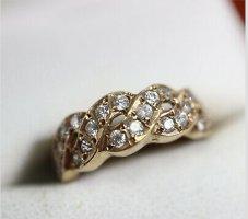 585 Gold ring goldring 14k facettierte steine