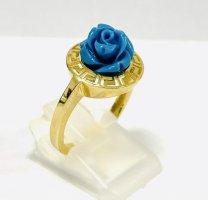 Echtgold Anello d'oro oro-blu cadetto