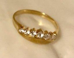 Echtgold Bague en or doré-blanc