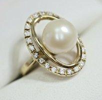585er/ 14k Gold Ring mit Perle Juwelierstück mit Meisterpunze Kristalle 14k gold