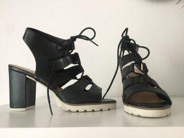 5th Avenue Hoge hakken sandalen zwart-wit Leer