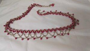 Cintura intrecciata argento-rosa