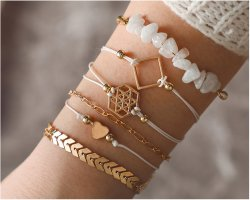 6 teilige Armband  Set weiß