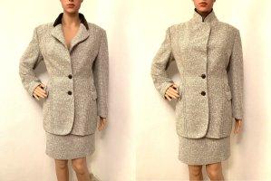 629€ Max Mara Designer Business Winter boucle Anzug Blazer Rock Jacke 38 Wolle Samt Kragen M