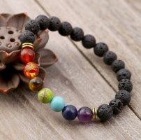 7 Chakra Heilung Yoga Perlen Armband mit natürlichen Lavastein Perlen / NEU & OVP