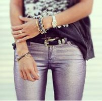 "7 for all mankind Jeans ""The Skinny"" Shiny Metallic Purple w24 Np: 260€"