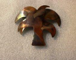 70er Jahre vintage, sehr groß Haarspange Palme Kupfer