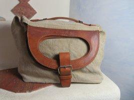 VINTAGE  70er Comprador marrón claro-beige tejido mezclado