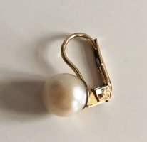 750 Gold Ohrring Damen  Ohrhänger mit weißer Perle Zuchtperle