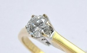 750-Goldring, Brillantring Solitaire 0.25KT