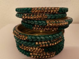 8 Armreifen Set Grün-Gold