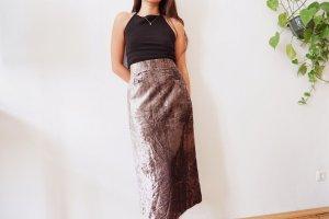 True Vintage Maxi Skirt silver-colored-grey violet mixture fibre