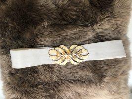 Cintura in tessuto bianco-oro