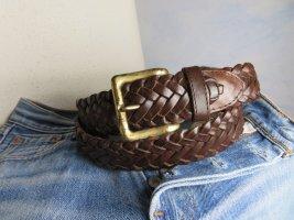 Vintage Braided Belt brown leather