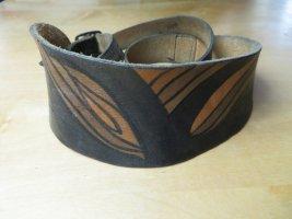 80s Vintage Braun handbemalter Ledergürtel 70 bis 80 Boho Taillengurt Hippie