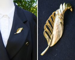 True Vintage Brooch gold-colored-white