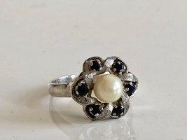 835 Silber Ring Perle Saphir Silberring 70s Vintage