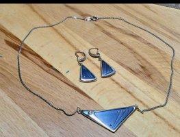835 Silber Set, Collier (Kette) und Ohrringe, Vintage