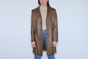 Leather Coat grey brown leather