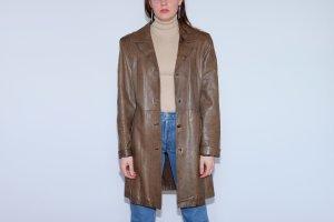 Abrigo de cuero marrón grisáceo Cuero