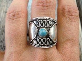 925 Breiter Ring mit blauem Stein und Ornament Echtes Silber True Vintage Ethno Sterling Silber