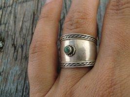 925 Breiter Ring mit Türkis und Ornament Echtes silber True Vintage Ethno Sterling Silber