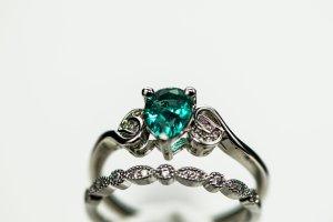Modeschmuck Zilveren ring zilver-groen Metaal