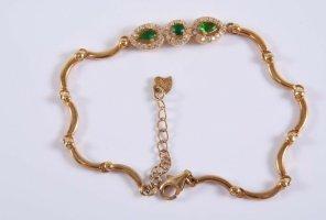 925 Silber Armband gold mit Steinbesatz