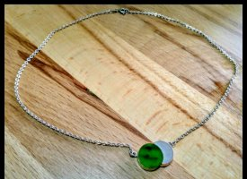 Sterling Silber Silver Chain silver-colored-green
