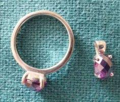 925 Silber: dunkelviolett Zirkonia Ring plus Anhänger