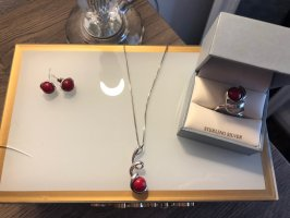 Ketting zilver-rood