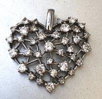 925 Silber Kristall Herz XL Kettenanhänger Silberanhänger Swarovski Kristalle Anhänger