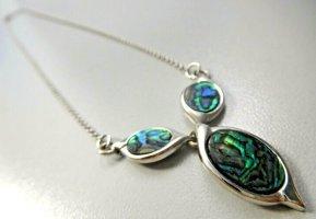 925 Silber Pauamuschel Abalone Muschel Collier Kette Halskette Silberkette