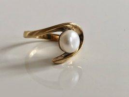 925 Silber Perle Ring Modern Art Gold Silberring