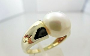 925 Silber Perle Spannring gold vergoldet Silberring
