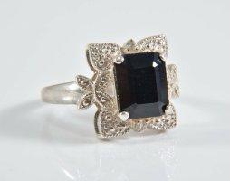 925 Silber Ring facettierter Edelstein Saphir Silberring
