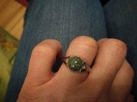 925 Silber Ring Grüner Stein Jugendstil   Ø 17,5
