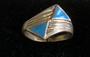 echt Silber 925 Srebrny pierścionek srebrny-niebieski neonowy