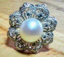925 Silber Ring mit Süßwasser Zuchtperle, Statement