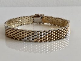 925 Sterling Silber Armband Gold  Vintage Silberarmband Bicolor Gliederarmband