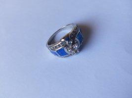 925 Sterling Silber-Blauer Feuer Opal-Luxus-Damen Ring.Größe 59/18,8mm.NEU