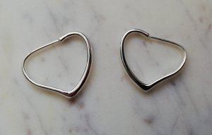 925 Sterling Silber Kreolen Hoops Heart Herz stilisiert