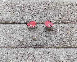 Srebrne kolczyki srebrny-różowy