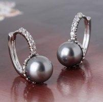 925 Versilberte Ohrringe Grau Perlenohrring NEU