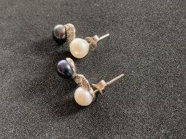 Boucles d'oreilles en perles blanc-bleu foncé