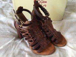 A.S.98 Sandales à talon haut brun-brun foncé cuir