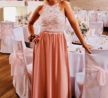 Abendkleid Rosa mit weißer Spitze
