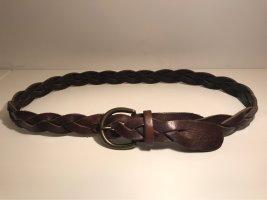 Abercrombie & Fitch Ceinture en cuir brun foncé-doré cuir