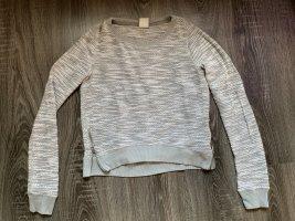 Abercrombie & fitch Pullover Shirt Oberteil grau Glitzer meliert weiß Reißverschlüsse seitlich